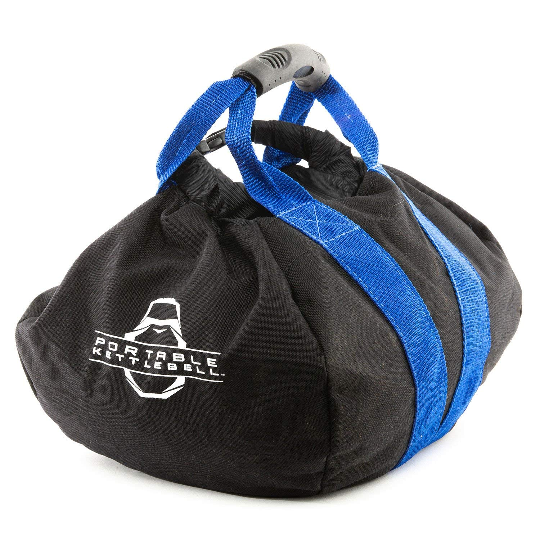 PKB PORTABLE KETTLEBELLS 0-45 lbs: The Original Sandbag Kettlebell - Crossfit, Travel, Yoga, Home Workout Sandbag Training Equipment Fully Adjustable Kettlebell Weights - Blue 45lbs