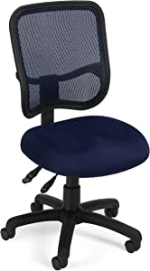 OFM Core Collection Comfort Series Ergonomic Mesh Mid Back Armless Task Chair, in Navy