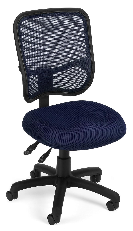 ofm comfort series ergonomic mesh swivel armless task chair black