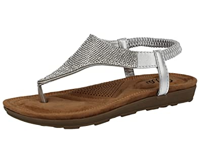 0879ae0738b603 Ladies Diamante Toe Post T-Bar Sling Back Cushioned Insole Flat Summer  Sandals Size 3