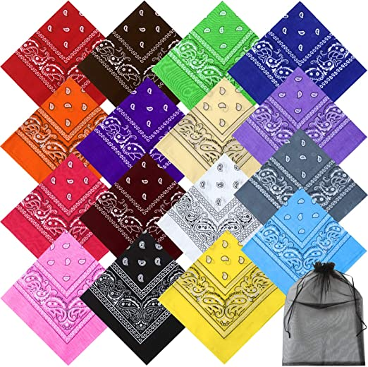 Cooraby 6 Pack Bandanas Paisley Print Headbands Cowboy Handkerchiefs Bandanas Wristband Head Wrap Scarf for Men Women
