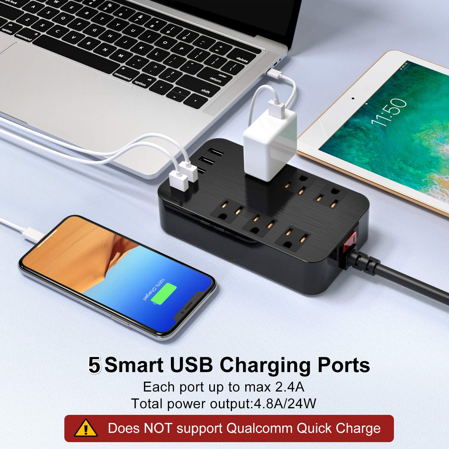 Power Strip - 6-Outlet Surge Protector Wall Mountable with 5 USB Ports Fast Charging (4.8A) UL Listed, 6Ft Long Extension Cord,Flat Plug,1700 Joules for iPhone iPad Home Dorm Office Laptop Computer