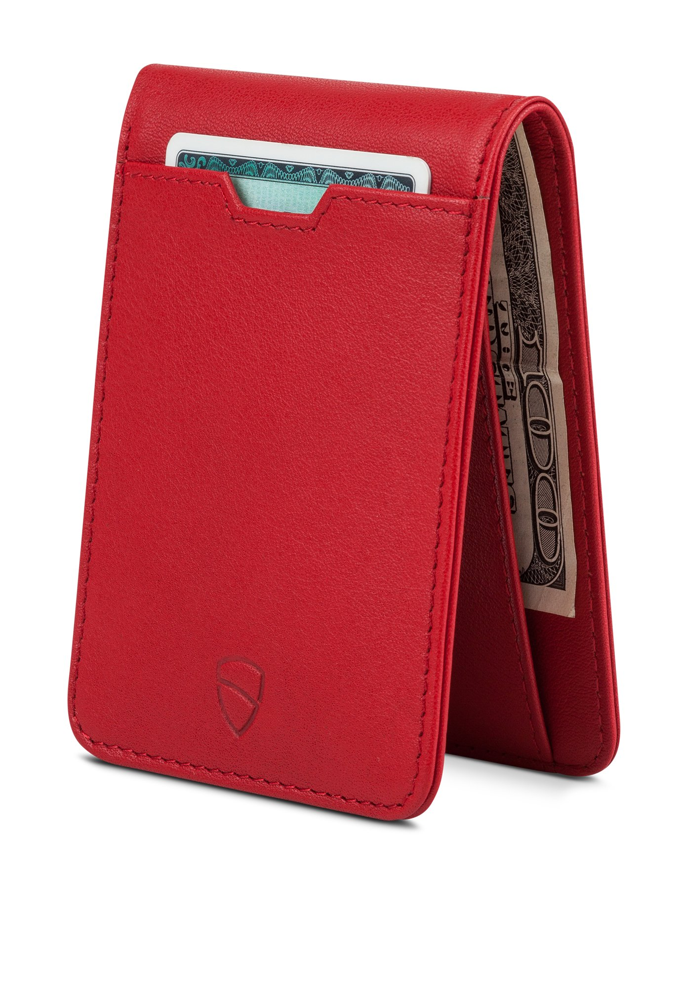 Vaultskin MANHATTAN Slim Bifold Wallet with RFID Protection for Cards and Cash (Carmine Red)