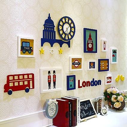 Buy WollWoll British London Theme Wall Clock Kids Room Large Photo ...
