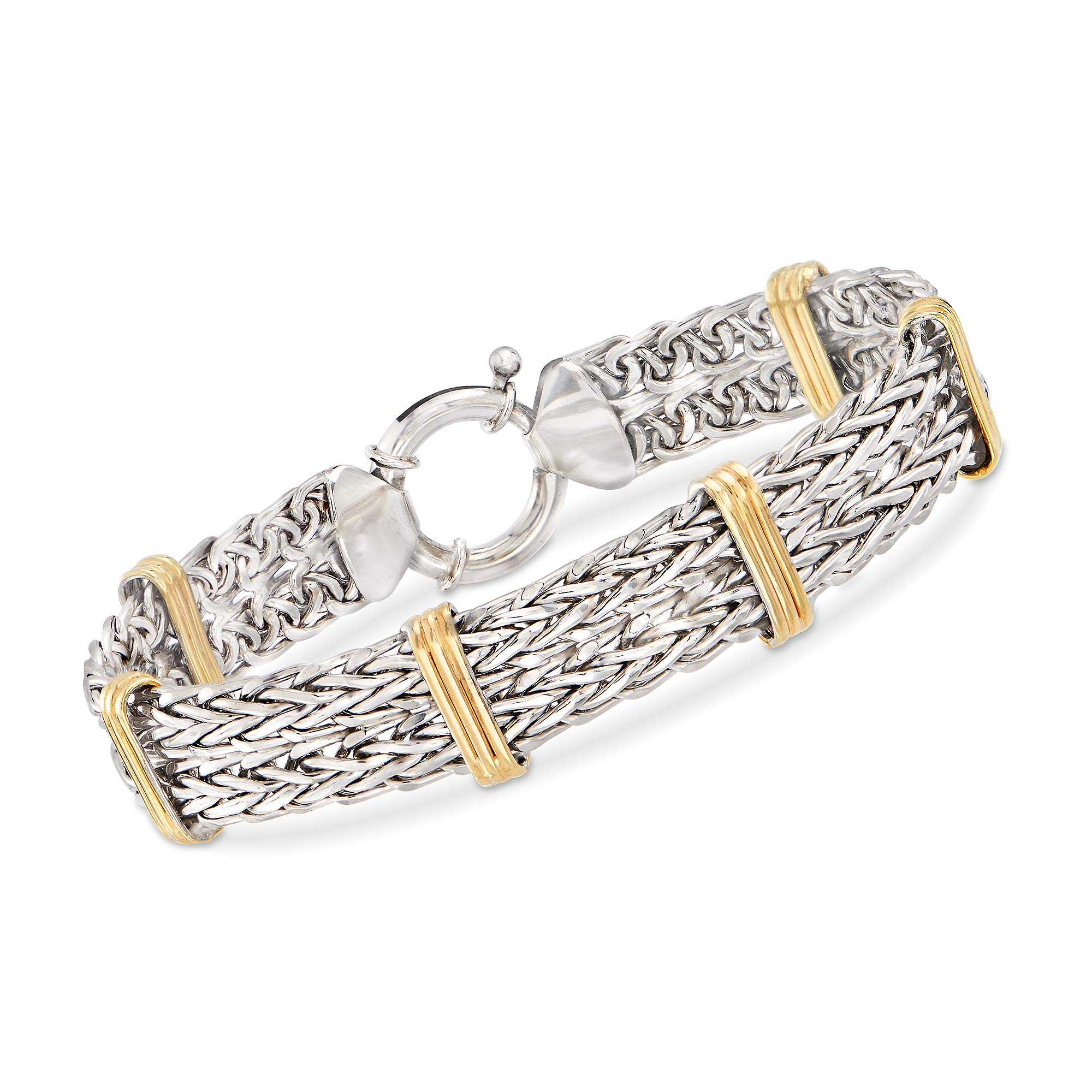 Ross-Simons 2-Tone Double Wheat-Link Bracelet in Sterling Silver and 14kt Gold Over Sterling by Ross-Simons