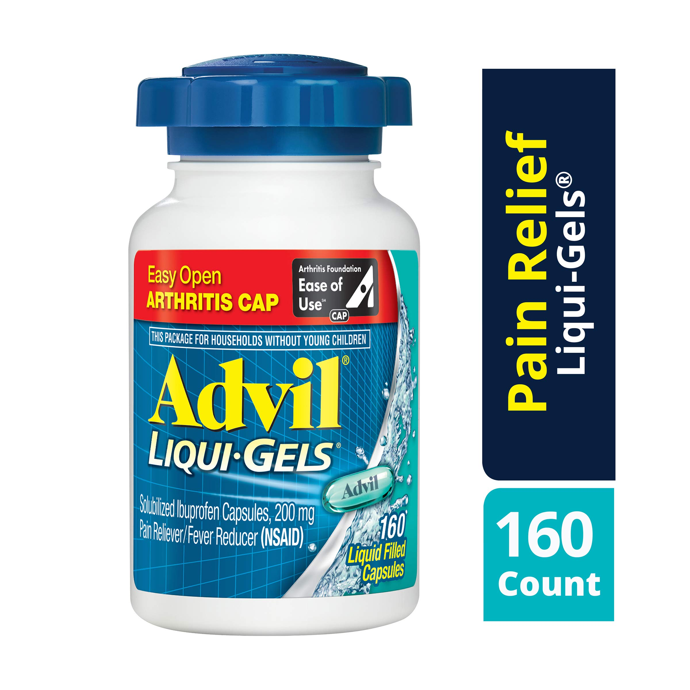 Advil Liqui-Gels (160 Count) Easy Open Arthritis Cap Pain Reliever/Fever Reducer Liquid Filled Capsule, 200mg Ibuprofen, Temporary Pain Relief