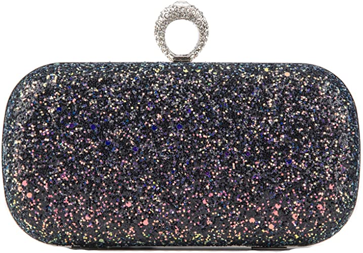 New Faux Suede Gold Ring Decoration Ladies Evening Clutch Bag Purse