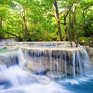 Amazon Com Natural Scenery Theme Photography Background Cloth 8x8ft Spring Waterfall Stream In The Forest Backdrop For Wedding Booth Vinyl Photo Studio Prop Camera Photo