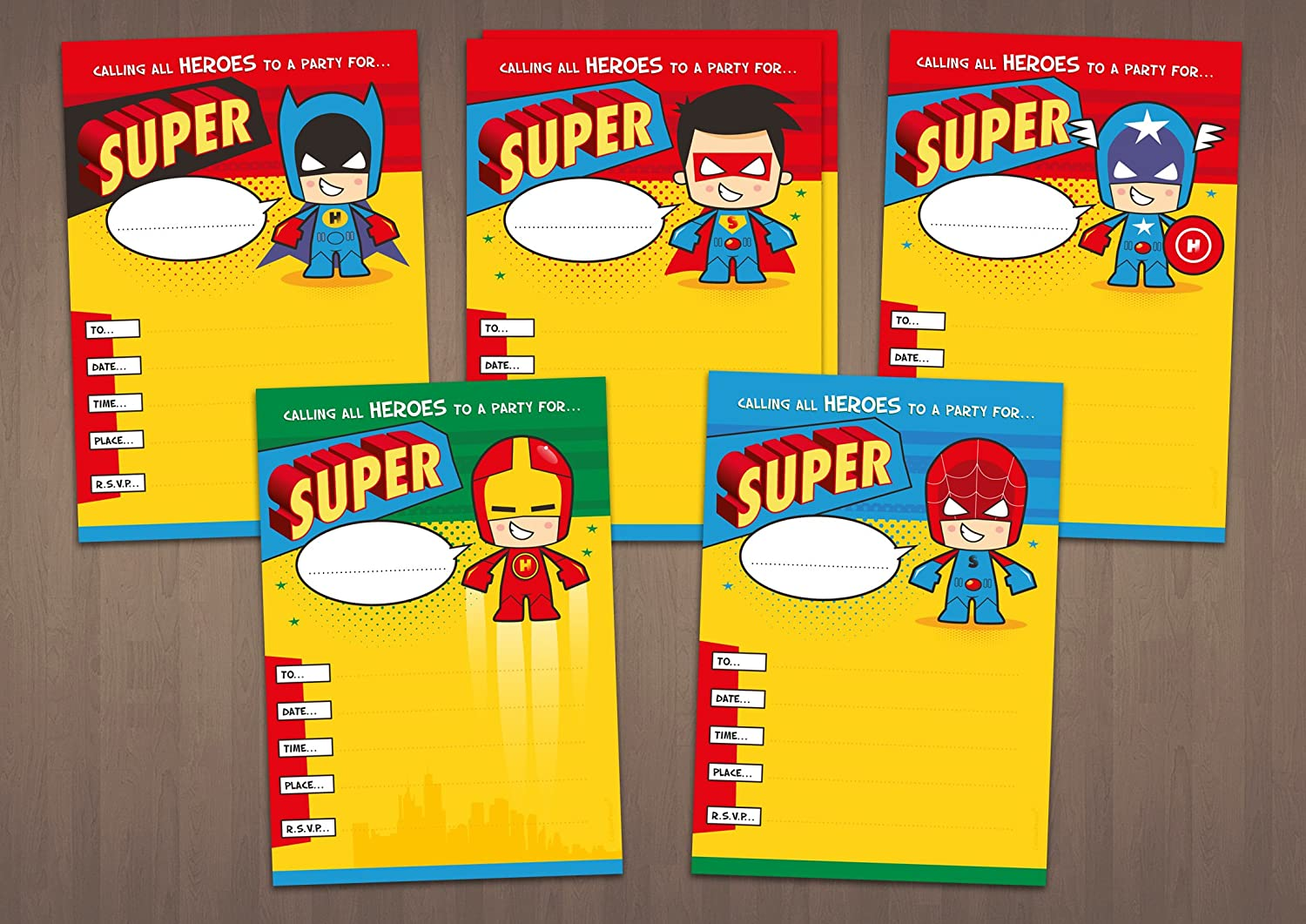 20 Children\'s birthday party invitations - Mixed Superhero costumes ...