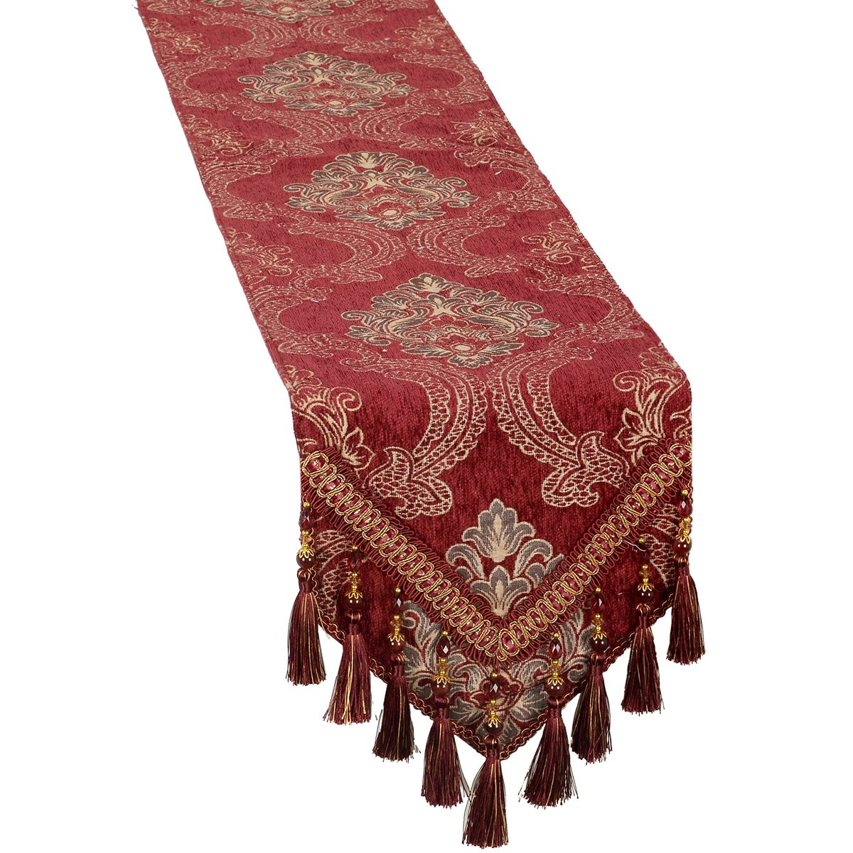 Grelucgo Double Thickness Burgundy Damask Floral Table Runners Dresser Scarves with Multi-Tassels (12x108 inch) by Grelucgo