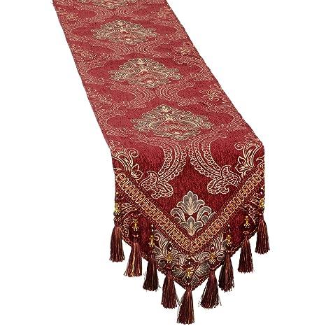 Burgundy Damask Floral Damask Table Runners And Dresser Scarves With  Multi Tassels, Customer Order