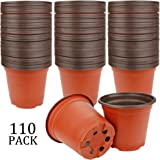 "Augshy 110 Pcs 3.5"" Plastic Plants Nursery Pot,Seed Starting Pots"