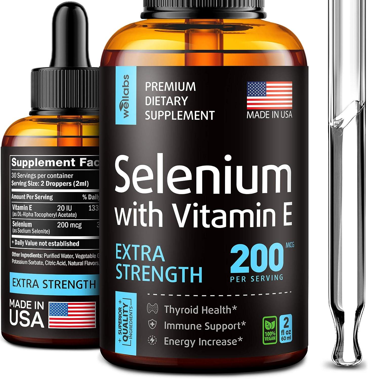 Selenium Supplement - Extra Strength Pure Selenium 2oz - Selenium Liquid Supplement - Advanced American Formula - Ionic Selenium Drops for Immune Support - Bioavailable Selenium with Vitamin E