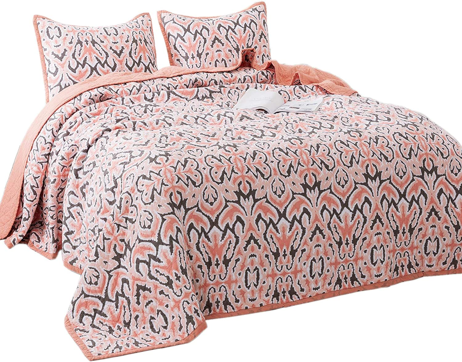 KASENTEX Luxury 3 Piece Quilt Set - Contemporary Oversized Bedding with Lavish Floral Printed Design, 100% Cotton Soft & Warm Reversible Bedspread (Floral Pink, King + 2 King Shams 112x106+20x36 x2)