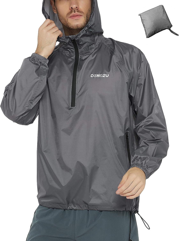 DEMOZU Womens Hooded Running Jacket Full Zip Lightweight Workout Hiking Camping Trekking Outdoor Windbreaker Jacket