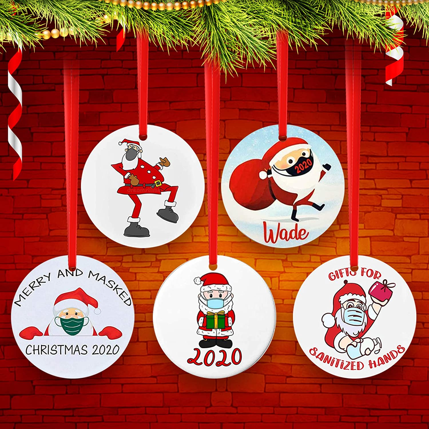 5 Pieces 2020 Christmas Tree Ornaments with Masks, Quarantine Survivor Christmas Pendants Gift Indoor, Home/Party/Restaurant/Bar Christmas Tree Decoration, 5 Different Pattern of 2020 Quarantine Theme