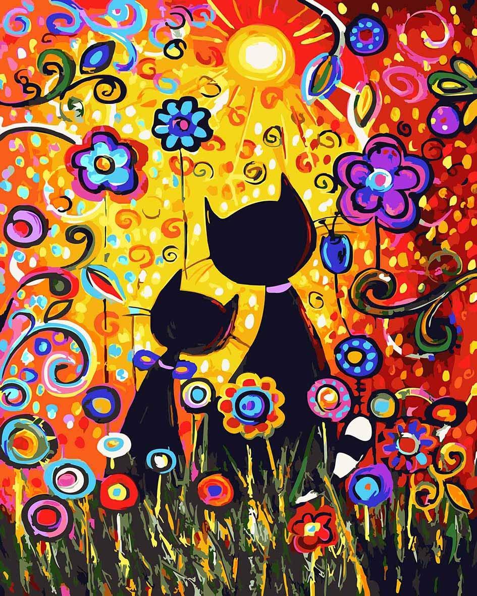 Pintura por Numeros ( ITM-5101) gatos abstractos