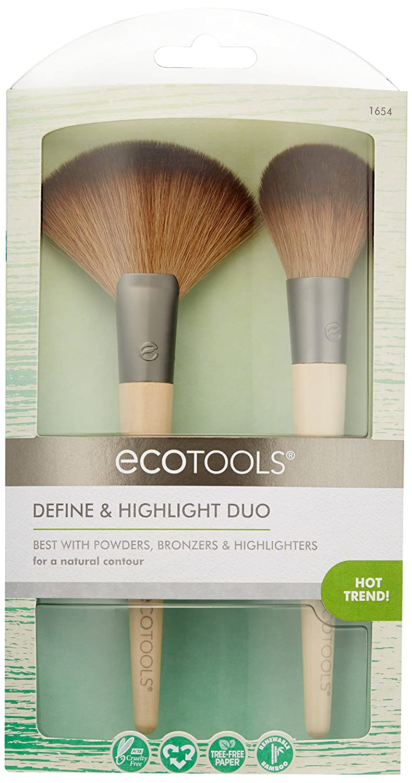 EcoTools Define & Highlight Duo, Makeup Brush Set for Powder, Bronzer, & Highlighter: Beauty