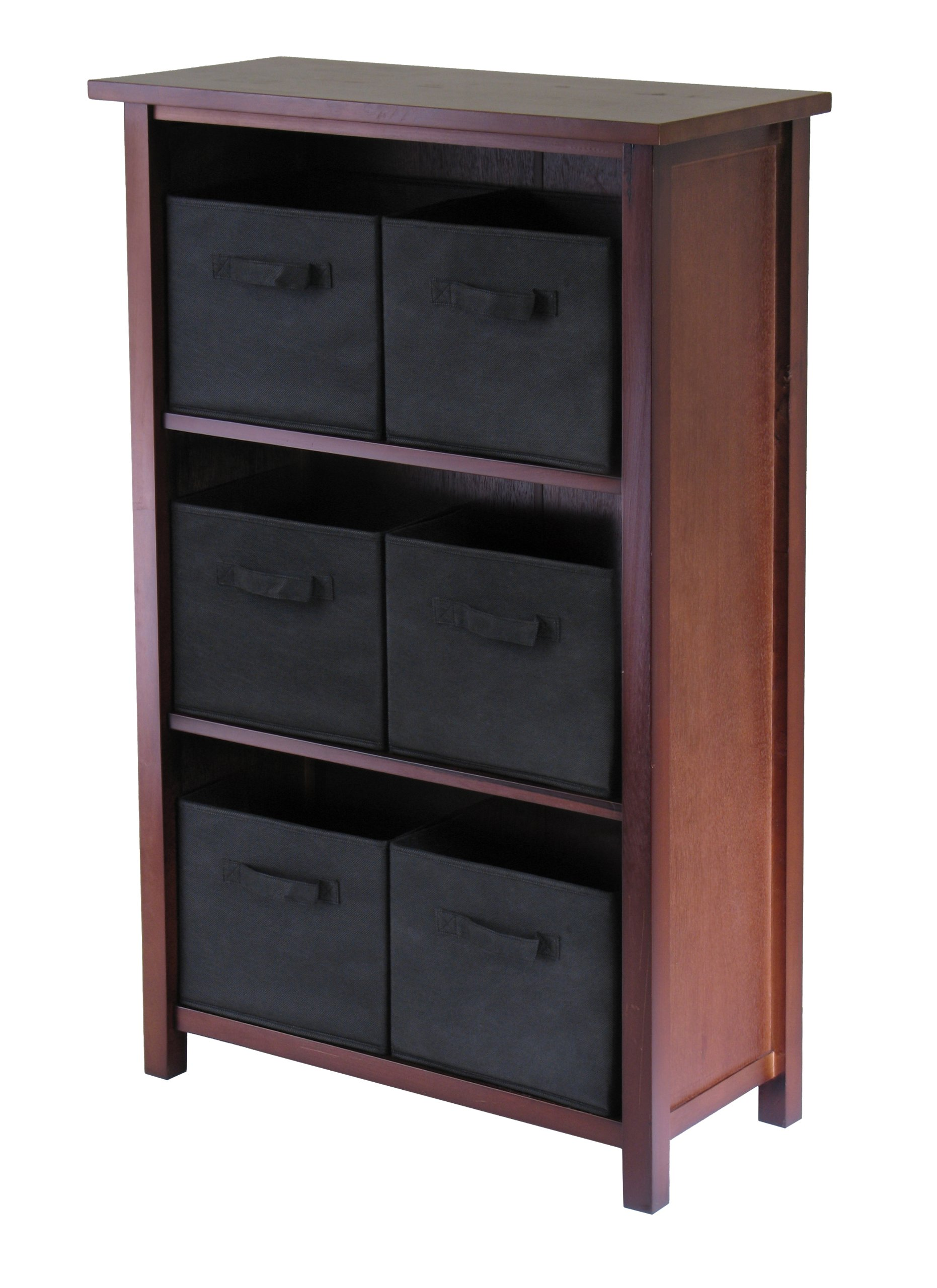 Winsome Wood Verona Wood 4 Tier Open Cabinet with 6 Black Folding Fabric Baskets by Winsome Wood