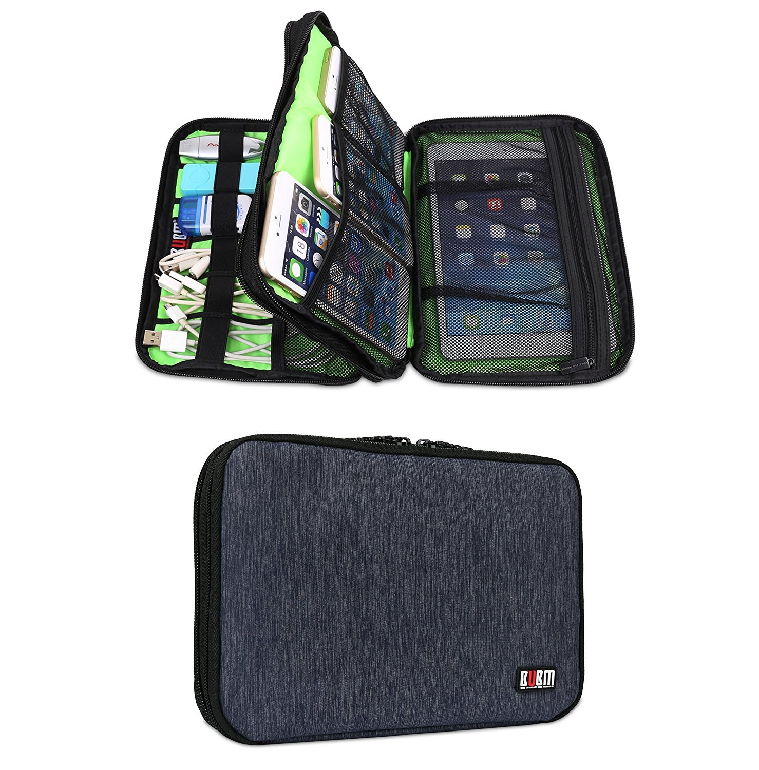 Electronics Travel Organizer Cord Cable Pouch Case for Falsh Hard Disk, Cables, USB, Memory Cards, Phone Charger, Power Bank and ipad Mini 7.9 Inch (Double Layer Blue)