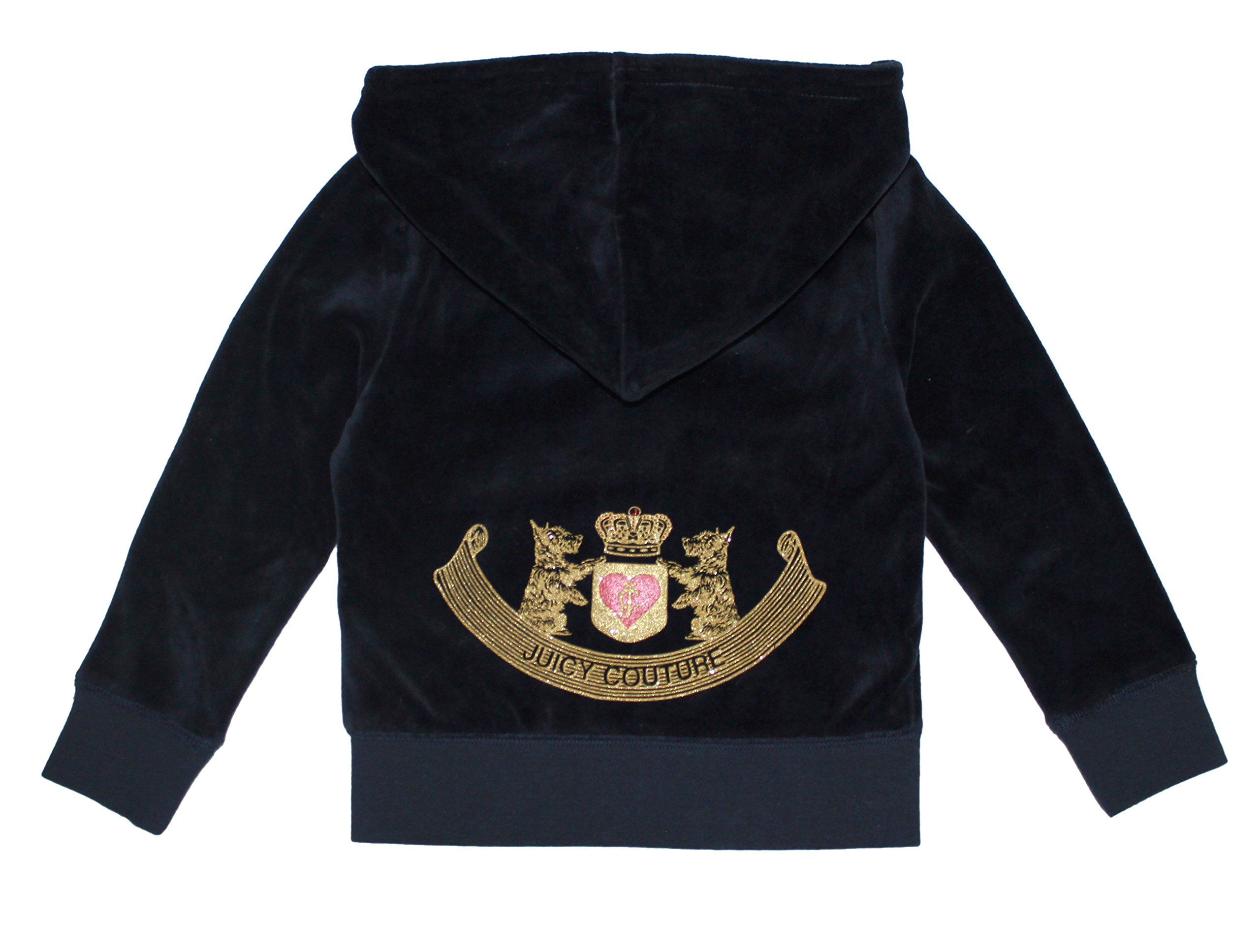 Juicy Couture Girls Hoodie With Gold 'JC' Monogram, Navy Blue (Small (4-5)) by Juicy Couture