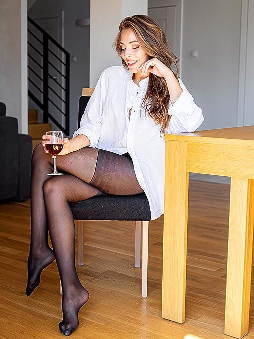 Sibinulo Pantimedias para Mujer 1-4 pares 20 den Medias Anticelulitis con Coffeine Hecho en la UE Profundo Negro