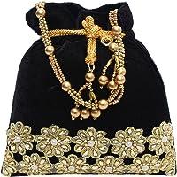 Bagaholics Ethnic Clutch Velvet Potli Batwa Pouch Bag with Metal Beadwork Gift For Women