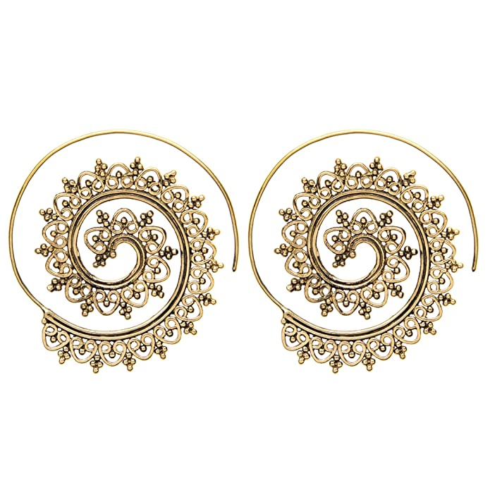 710a9a4769f36 81stgeneration Women's Brass Gold Tone Indian Swirl Dotwork Spiral Ethnic  Tribal Earrings