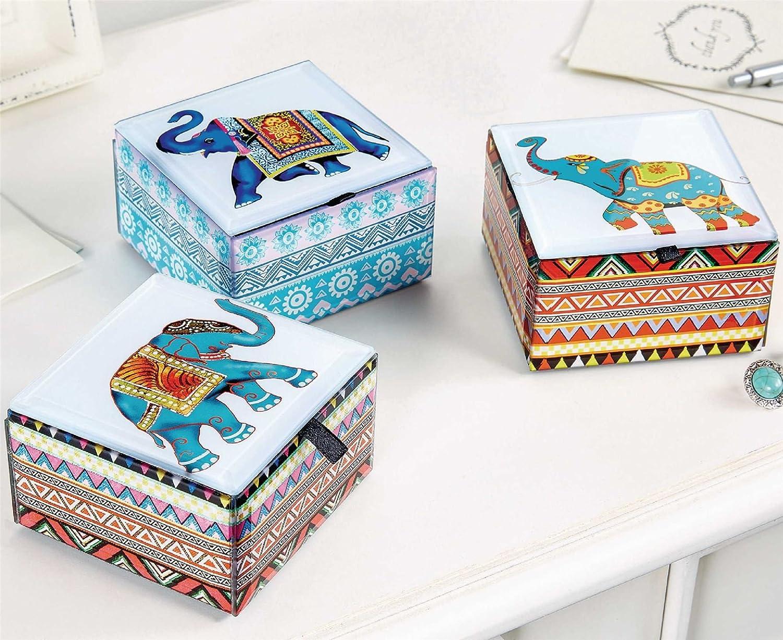 Elefante cajas de caja con forma de cristal soporte para joyas decoración ornamnts Juego de 3: Amazon.es: Hogar