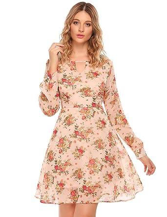 cd22b36f90 Zeagoo Women's Floral Print Long Sleeve Chiffon A Line Midi Dress Pink M