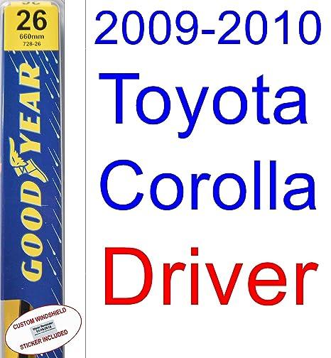 2009 – 2010 Toyota Corolla XRS hoja de limpiaparabrisas de repuesto Set/Kit (Goodyear