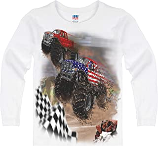 product image for Shirts That Go Little Boys' Long Sleeve USA Flag and Red Monster Trucks Racing T-Shirt