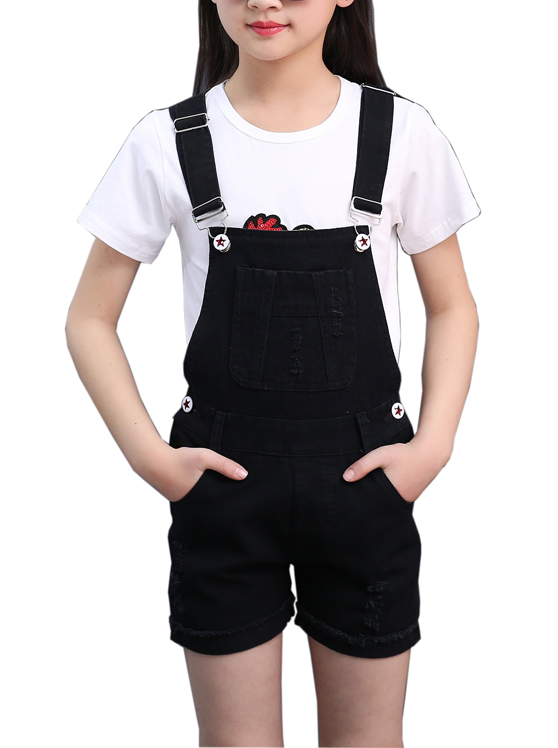 Sitmptol Big Girls Kids Denim Overalls Cute Jumpsuits Casual Boyfriend Romper 160 Black