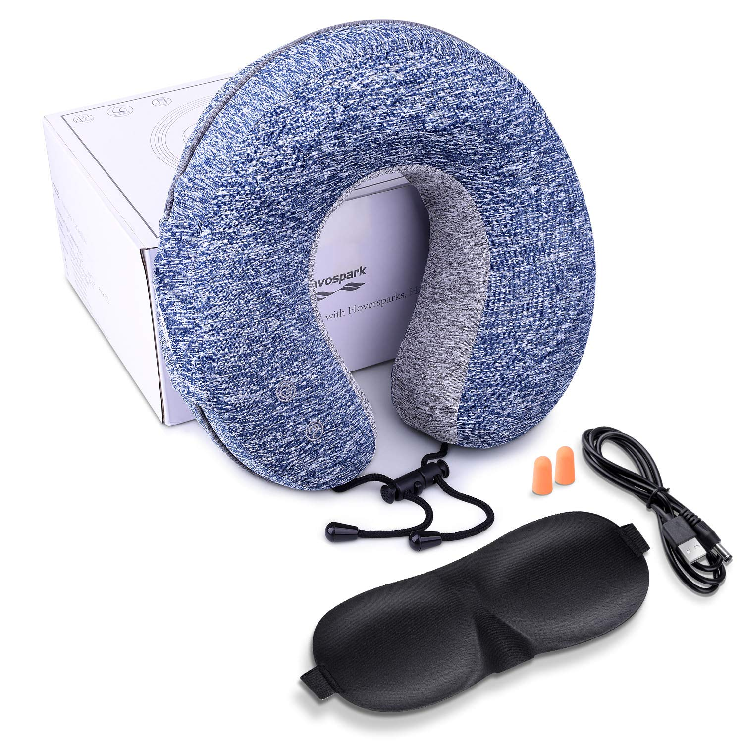 Havospark Massage Neck Pillow Travel Pillow with Massage, Waterproof, Music Playing Functions for Car, Airplane, Swimming, Camping H7