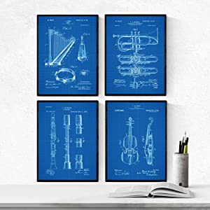 Nacnic Blue - Pack of 4 Sheets with Patent Musical Instruments. Set Posters with Ancient Inventions and patents. Choose The Color You Like. Printed on 250 Grams