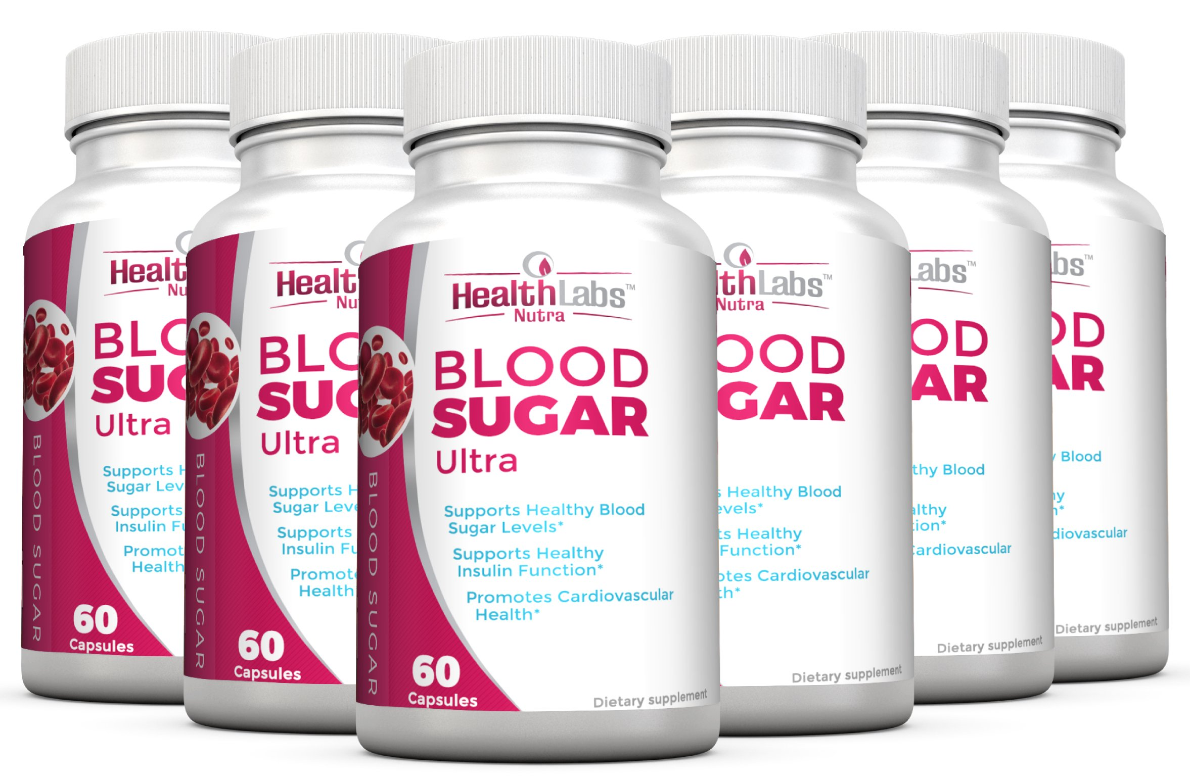 Health Labs Nutra Blood Sugar Ultra - Supports Healthy Blood Sugar Levels, Cardiovascular Health, Strengthens Immune System - Pack of 6