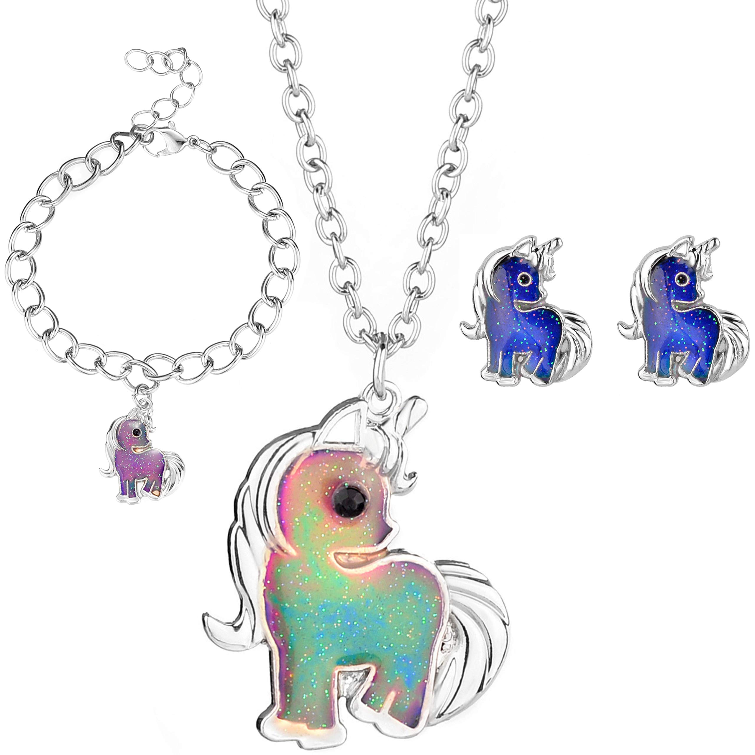 Unicorn Mood Necklace, Mood Bracelet and Mood Earrings Set for Girls - Color Changing Unicorn Kids Jewelry for Little Girls, Kids and Tween - Great Party Favors and Stocking Stuffers for Girls by FROG SAC