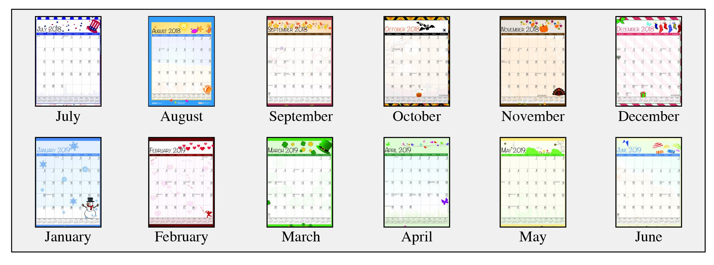 House of Doolittle 2018-2019 Monthly Seasonal Wall Calendar, Academic, 12 x 16.5 Inches, July - June, Case of 24 (HOD3395PK-19) by House of Doolittle (Image #2)