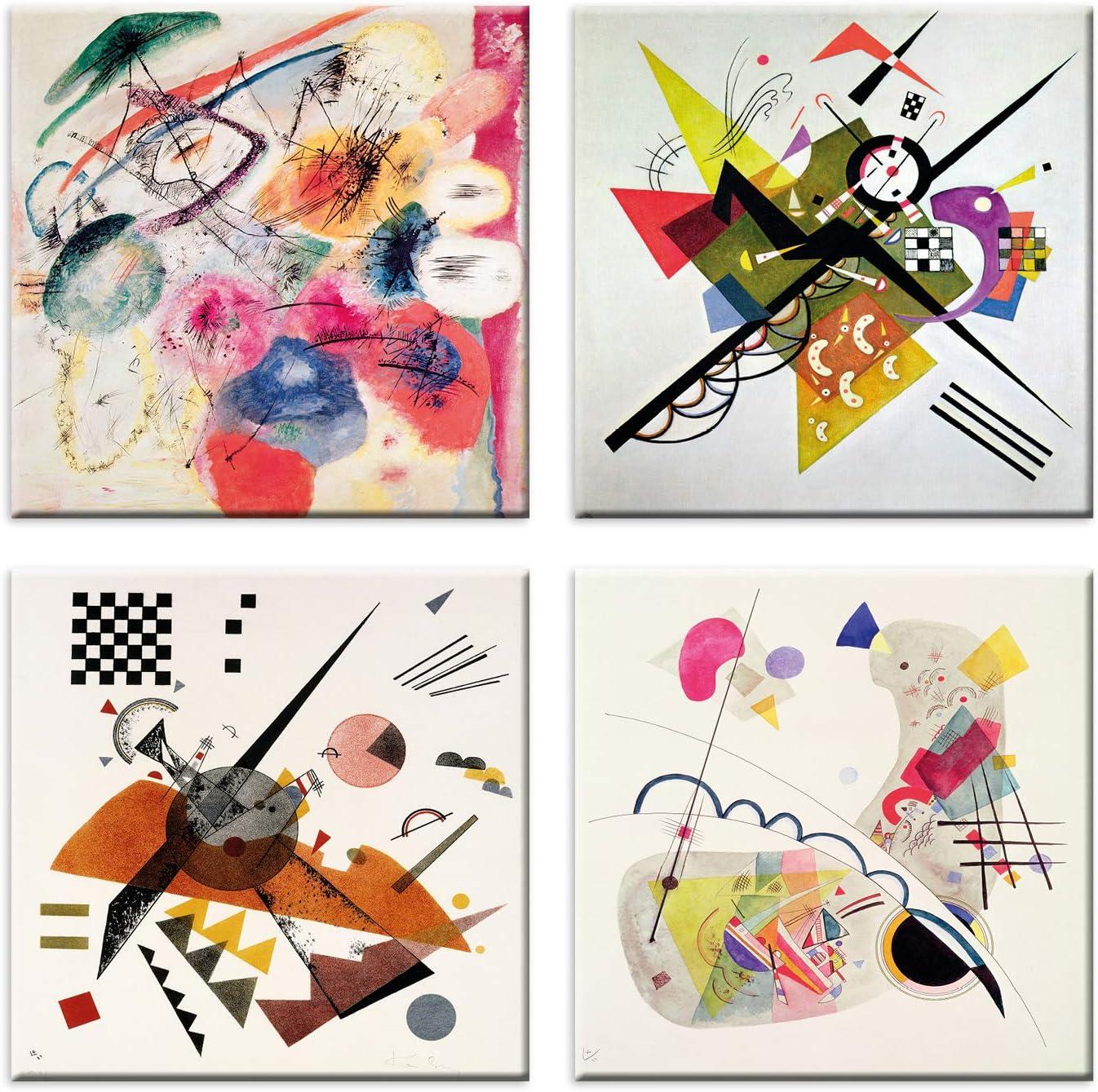 LuxHomeDecor Cuadros Kandinsky 4 Piezas 30 x 30 cm Impresión sobre Lienzo con Marco de Madera Arte Decorativo