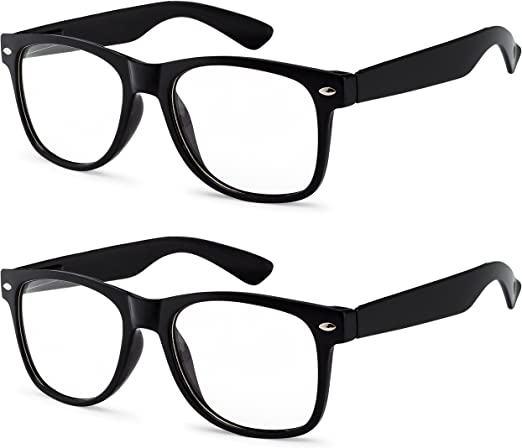 Amazon Com Owl Non Prescription Glasses Clear Lens Black Frame Uv Protection 2 Pack Clothing