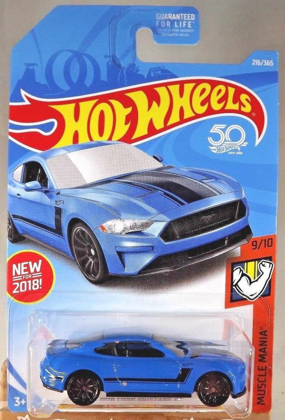 Amazon com hot wheels 2018 ford mustang gt blue 216 365 muscle mania everything else