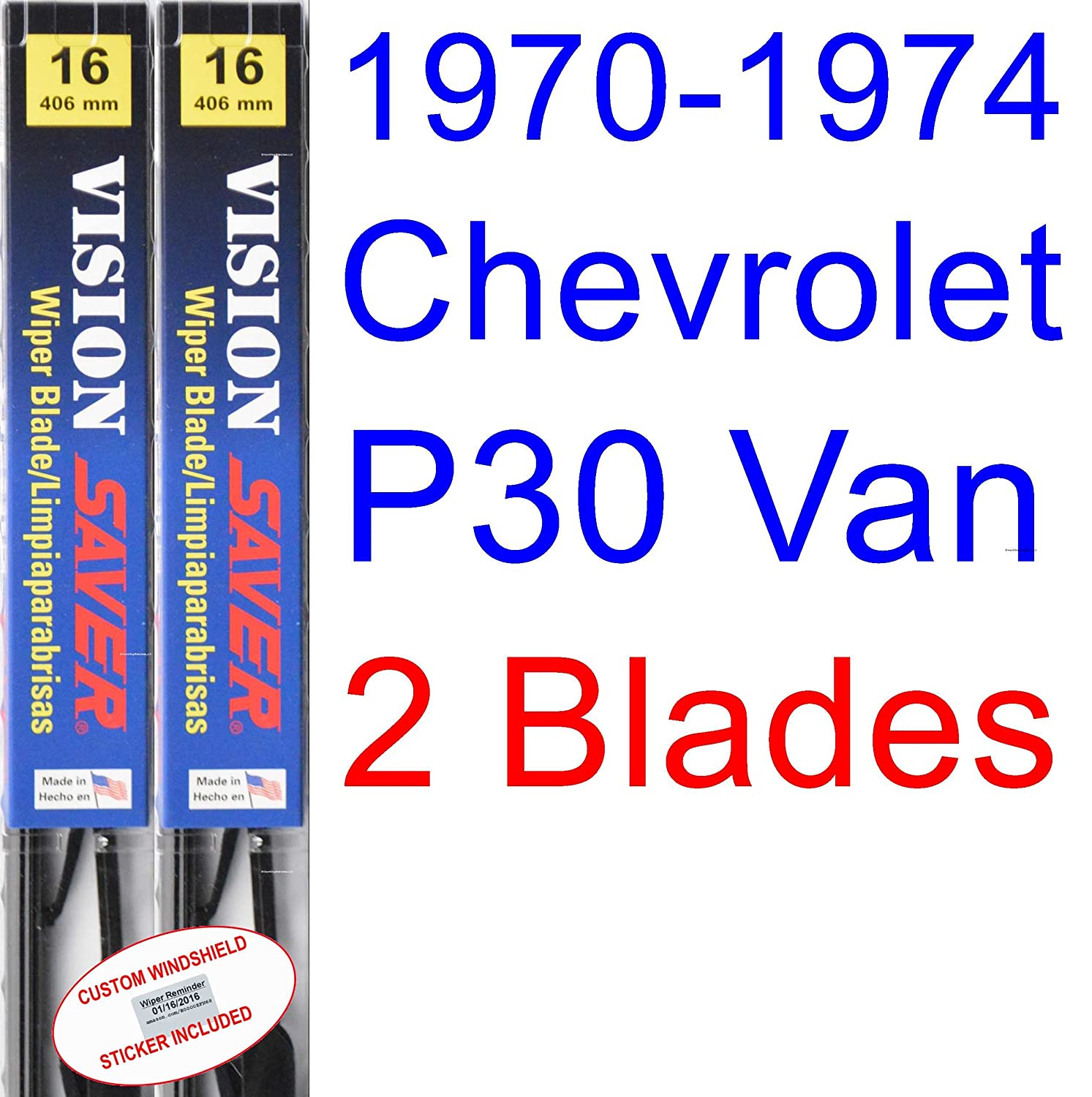 Amazon.com: 1970-1974 Chevrolet P30 Van Replacement Wiper Blade Set/Kit (Set of 2 Blades) (Saver Automotive Products-Vision Saver) (1971,1972,1973): ...