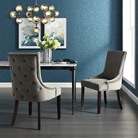 Amazon Com Inspiredhome Grey Velvet Dining Chair Design Oscar Set Of 2 Back Tufted Nailhead Trim Finish Chairs