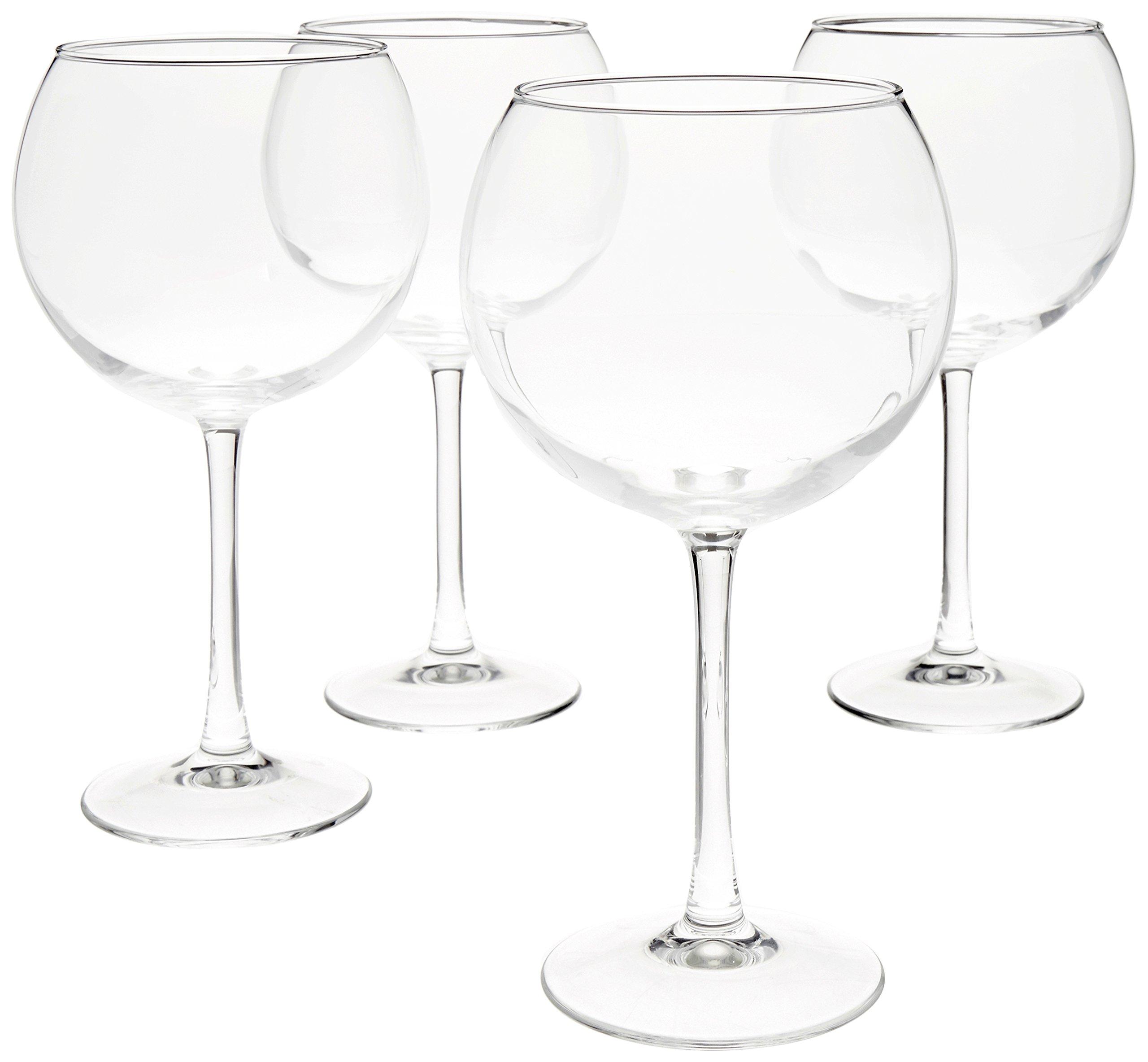 AmazonBasics Red Wine Balloon Wine Glasses, 20-Ounce, Set of 4 by AmazonBasics