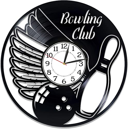 Kovides Bowling Club Birthday Gift Idea Sport Vinyl Clock 12 Inch