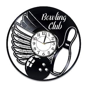 Kovides Bowling Club Birthday Gift Idea Sport Vinyl Clock 12 Inch for Man and Woman Bowling Original Home Decor Sport Vinyl Record Wall Clock Skittle Handmade Clock