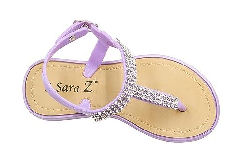 8e829744af0a Sara Z Toddler Girl s Rhinestone Strap Slingback Thong Jelly Sandal 5 6  Lilac