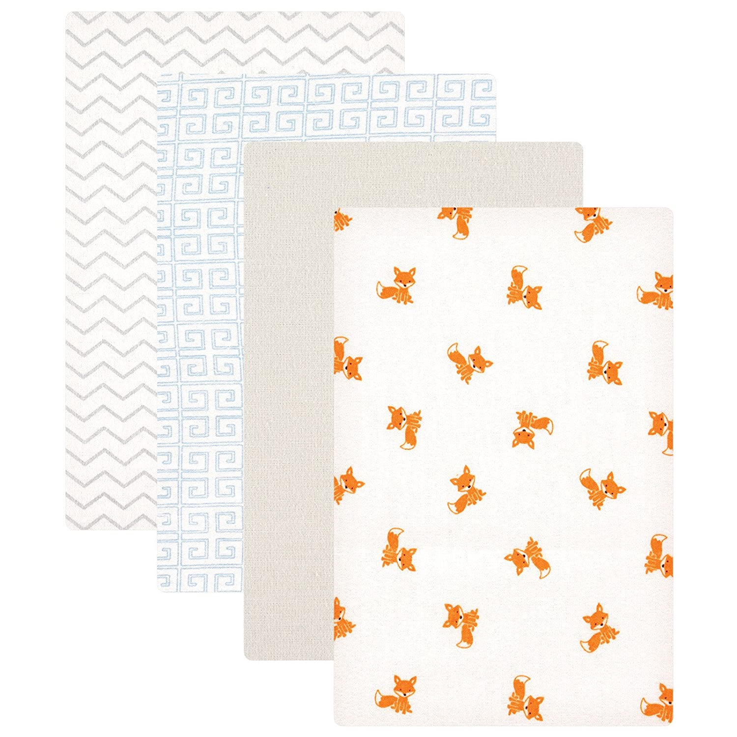 Luvable Friends Unisex Baby Cotton Flannel Receiving Blankets, Fox 4-Pack, One Size