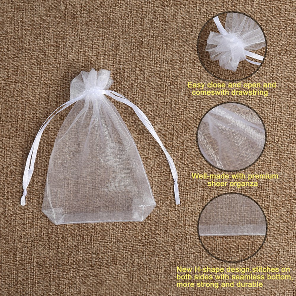 Hopttreely 100PCS Premium Sheer Organza Bags, White Wedding Favor Bags with Drawstring, 4x4.72 Jewelry Gift Bags for Party, Jewelry, Festival, ...