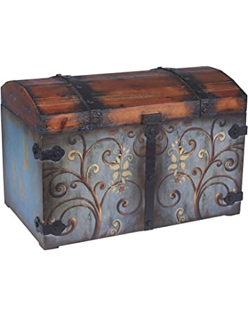 Household Essentials 9502 1 Vintage Wood Storage Trunk, Large, Blue  Body/Brown